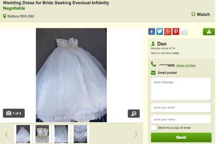 «Платье Иуды» выставлено обманутым мужем на онлайн-аукцион
