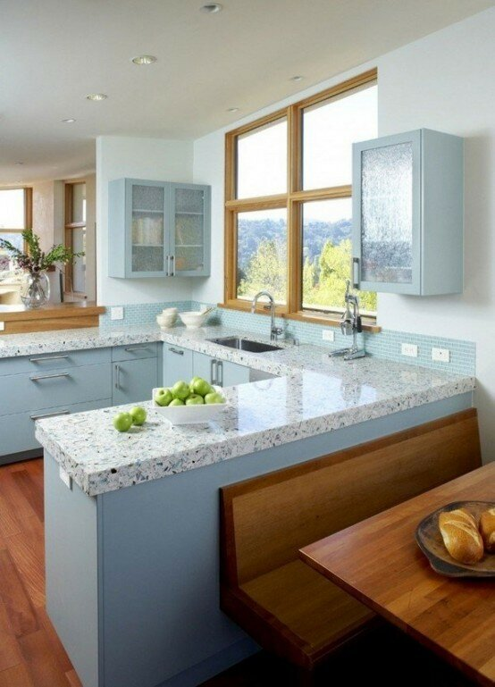 White unique kitchen countertops