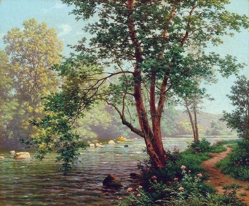 Прохладой веет от реки... Rene Charles Edmond His