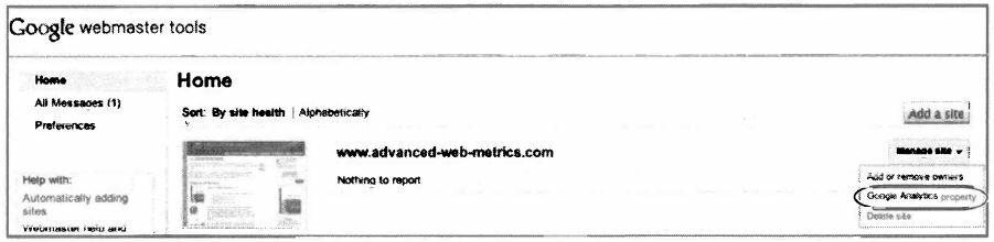 Рис. 6.16. Интегрирование с Google Analytics из Webmaster Tools