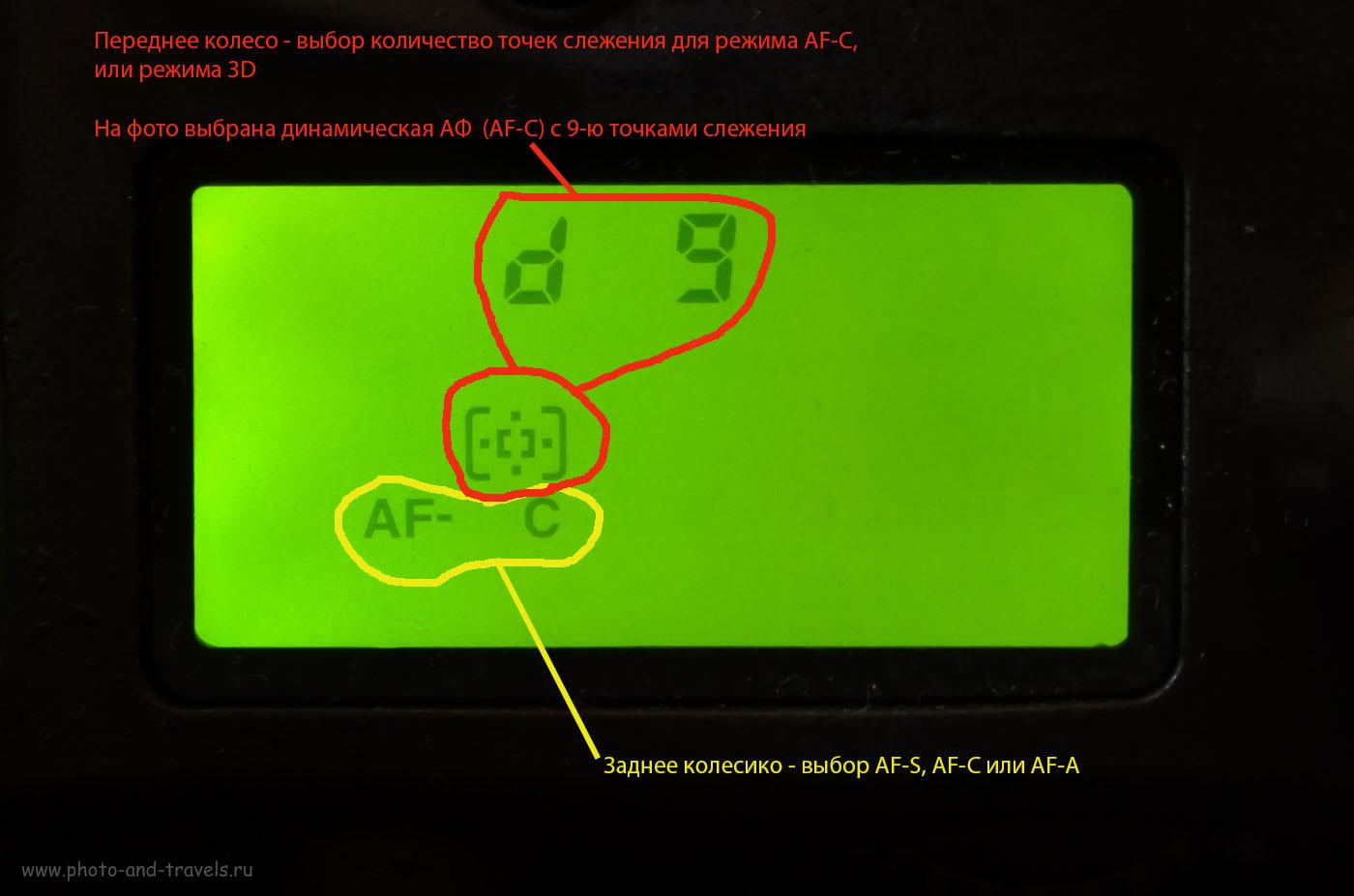 Фотография 11. На верхнем экране зеркалки Никон Д610 отображается текущий способ фокусировки: слежение по 9 точкам