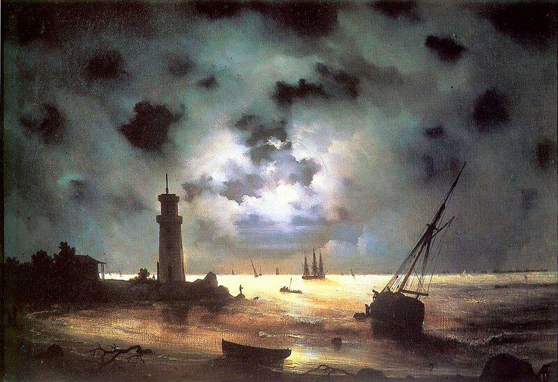 Берег моря ночью. Айвазовский Иван Константинович, Шедевры мировой живописи