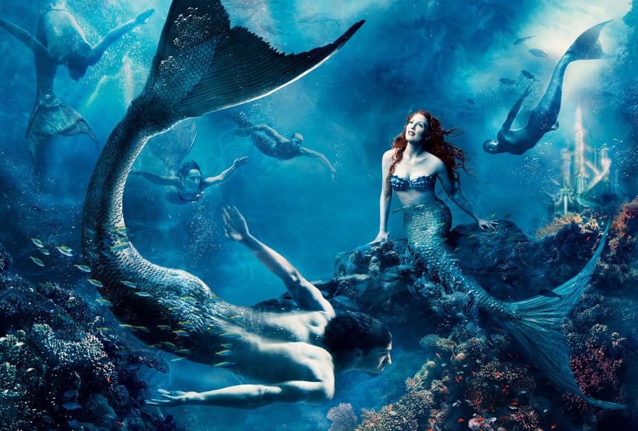 Disney's Year of a Million Dreams by Annie Leibovitz - Julianne Moore and Michael Phelps as Ariel and a merman / Джулианна Мур и Майкл Фелпс в образе Русалочки Ариэль и Водяного
