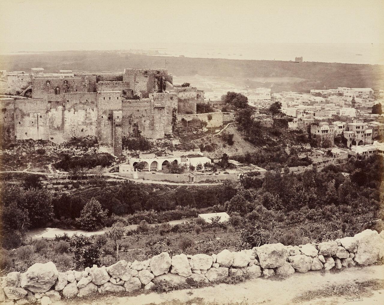12 мая 1862. Замок и город Триполи на расстоянии.Цитадель Раймон де Сен-Жиль, Ливан
