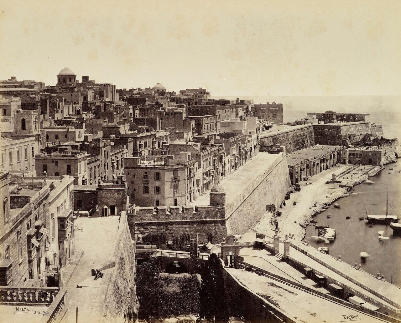 7 июня 1862. Часть Валетты из Верхней Баракки. Валлетта, Мальта