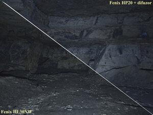 Сравнение света фонарей Fenix HL30 NW и Fenix HP20 + difuzor в турбо режиме
