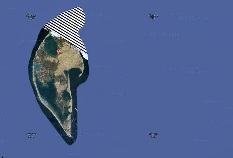 Секретный остров в Карском море 75.371444,81.968136