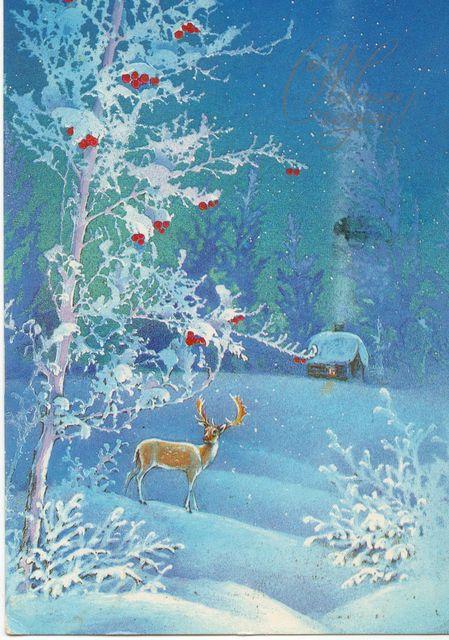 Новогодняя ночь в лесу. С Новым годом! открытки фото рисунки картинки поздравления