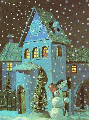 Снеговик охраняет дом. Наилучшие пожелания в Новом году! открытка поздравление картинка