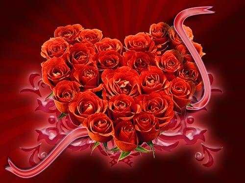 Розы в букете в виде сердечка
