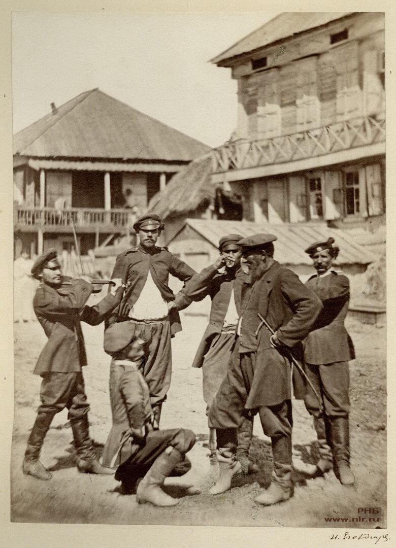 Казаки перед выходом на службу. 1875-1876