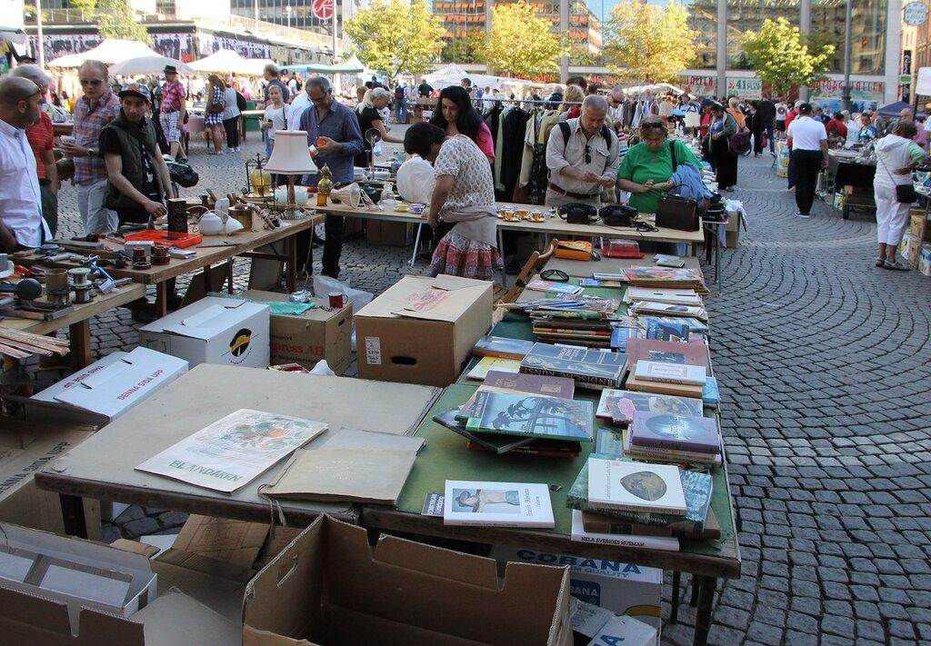 Стокгольм, Сенная площадь, блошиный рынок, Stockholm, Hötorget, Flea market