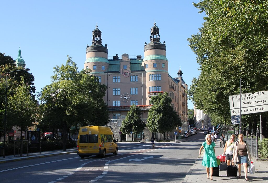 Stockholm. Стокгольм. Площадь Норра Банторгет. Совет профсоюзов Швеции. Norra Bantorget, Northern Railway Square. The LO-building,LO-borgen