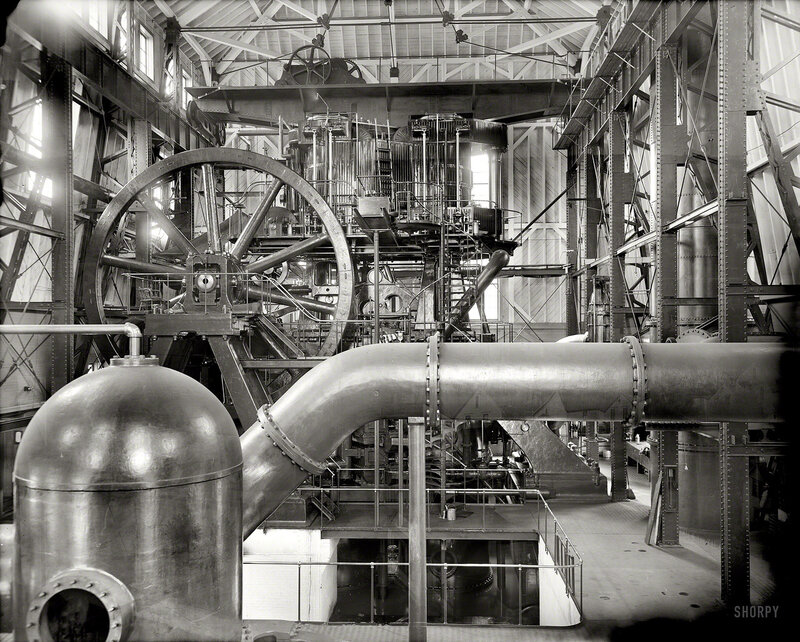 Copper production circa 1906. 12,000 horsepower compound pump, Calumet and Hecla stamp mill, Lake Linden, Michigan