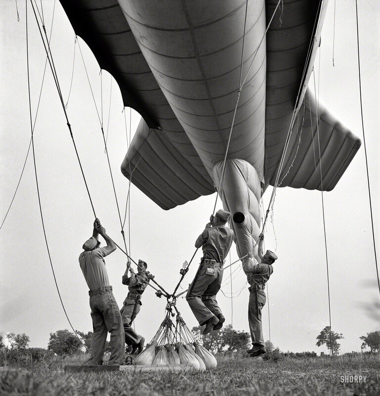 May 1942. Parris Island, South Carolina. Special Marine units learning how to bed down a big barrage balloon