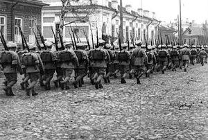 Поляки по Псковскому проспекту уходят в сторону Воскресенской улицы