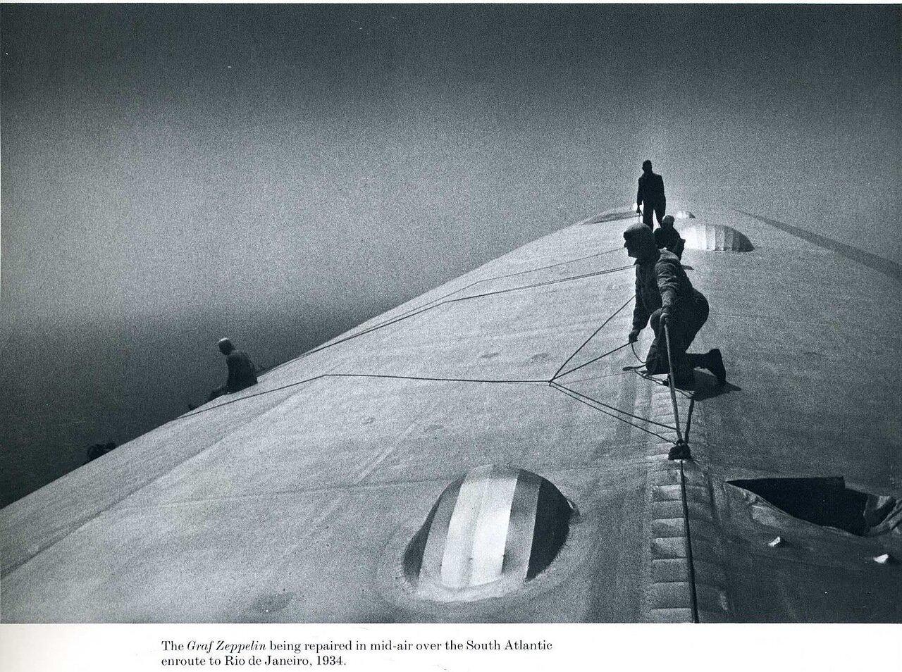 1934. На «Графе Цеппелин» производят ремонт в воздухе над Южной Атлантикой