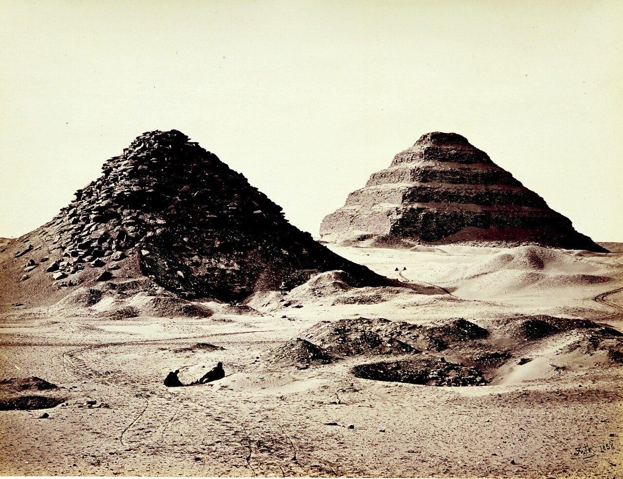 Саккара. Пирамиды, вид северо-востока. 1858