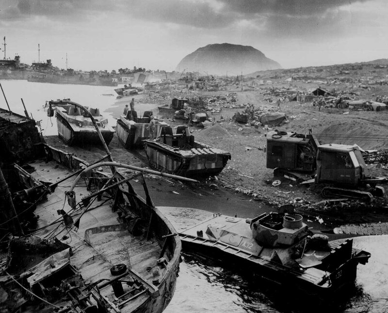 Destroyed American amtracs and other vehicles on beach of Iwo Jima, Japan (Feb-Mar, 1945)