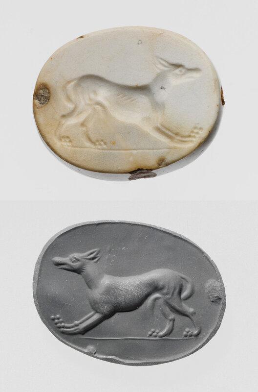 Greek, Carnelian scaraboid seal with wolf, c.450-400 BC