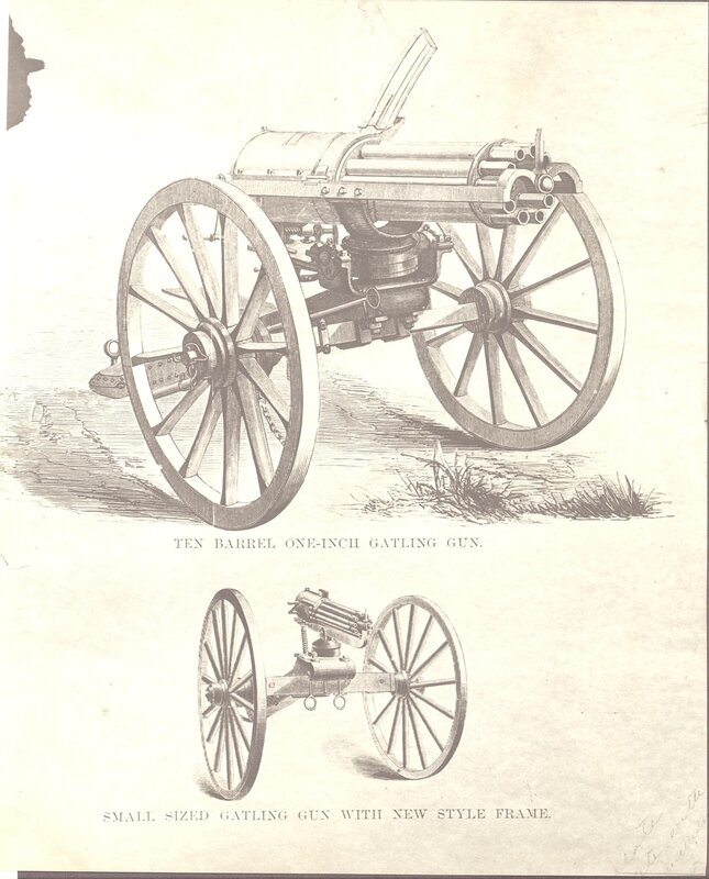 Ten Barrel One-Inch Gatling Gun (top) and a Small Sized Gatling Gun With New Style Frame (bottom).