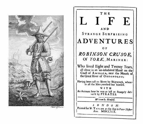 Первое издание романа Робинзон Крузо Даниэля Дефо в 1719 году.