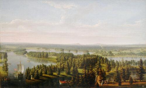 И.Я. Меттенляйтер (1750-1825). «Вид на гатчинский парк с башни дворца». 1793. х/м