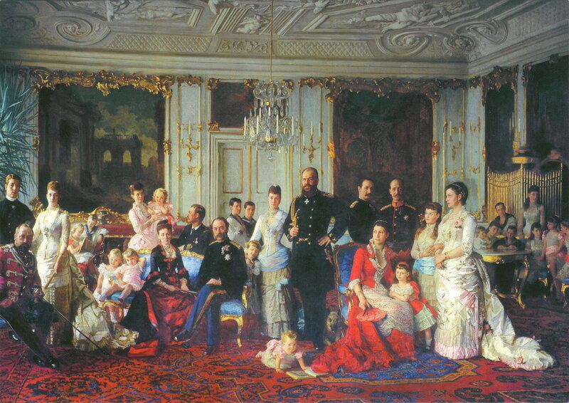 «Тесть Европы. Король Кристиан IX и Королева Луиза с родственниками во дворце Фреденсборг»