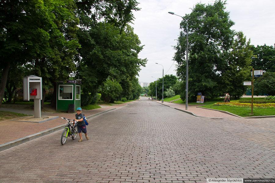 Мальчик катит велосипед. Коломенское, Москва