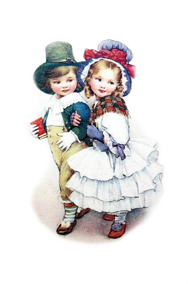 Открытка с винтажные с детьми