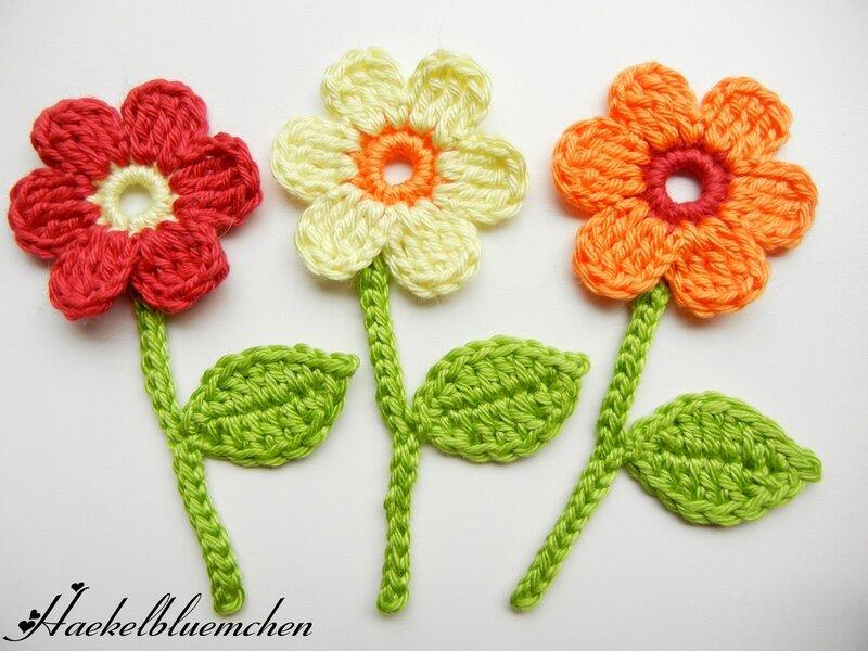 вязаные цветы в рукоделии.
