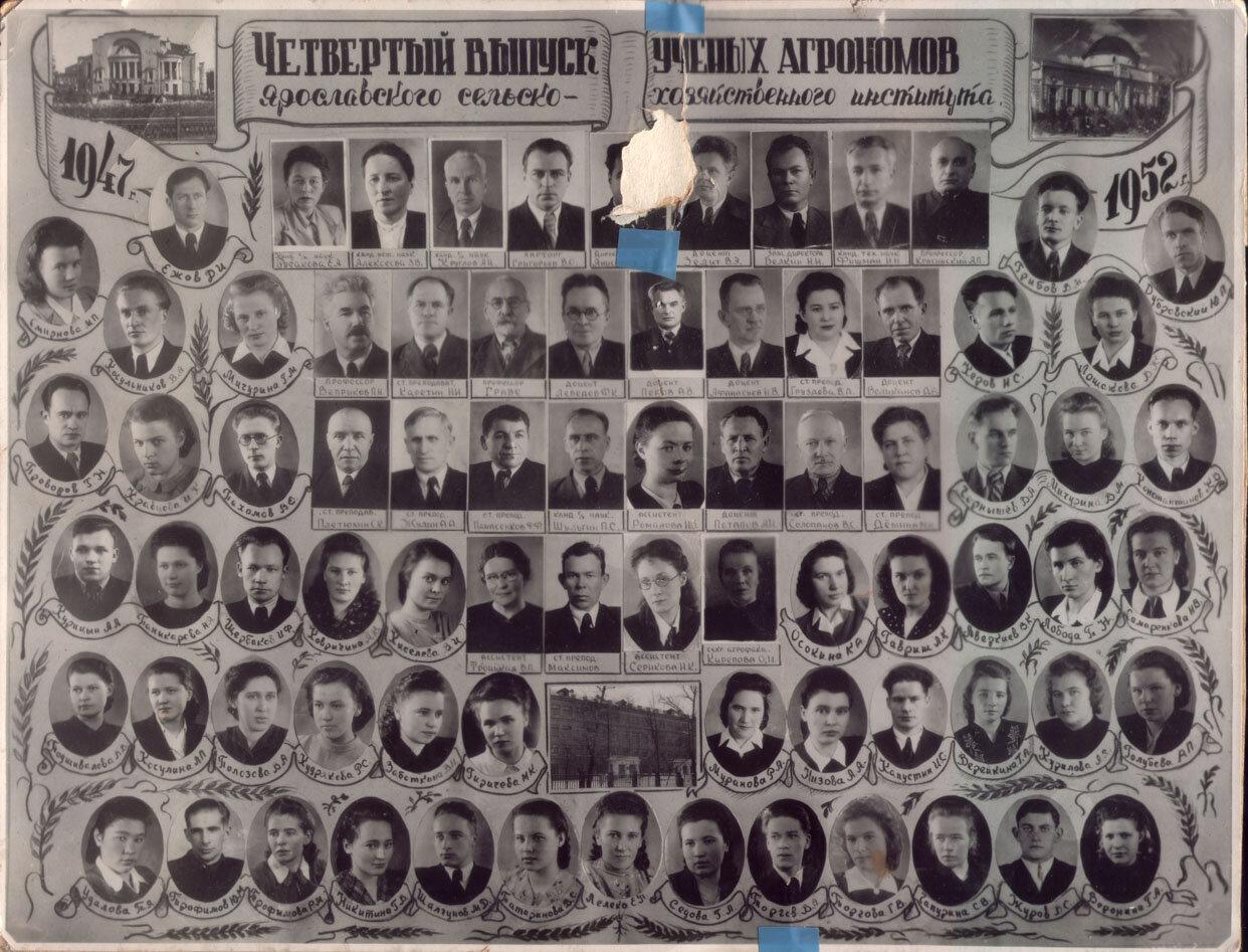 1947-1952 гг. Четвертый выпуск ученых агрономов Ярославского сельскохозяйственного института