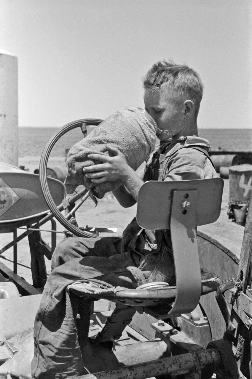 Сын поденщика на ферме возле Раллса, Техас. Он пьет из кувшина, который лежит на тракторе его отца, 1939