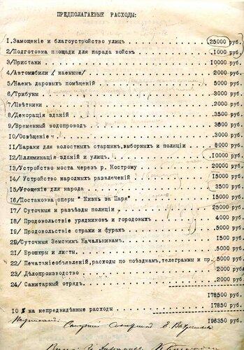<a target='new' href='http://img-fotki.yandex.ru/get/9259/97867398.17/0_900f7_bac24e6b_XXXL.jpg'>1913 г. – Смета расходов на проведение торжеств, посвященных празднованию 300-летию Дома Романовых в Костроме ГАКО, ф. 134, оп. 14, д. 301, л. 7</a>