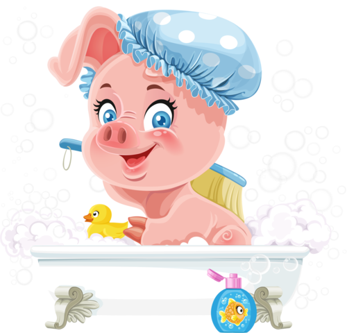 Pretty pink little piggy taking a bath with foam.png