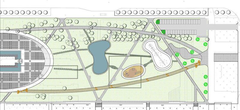 Проект Выставочный зал в честь 50-летия АВТОВАЗа и выпуска первого легкового автомобиля со сквером, игровыми площадками и фонтаном