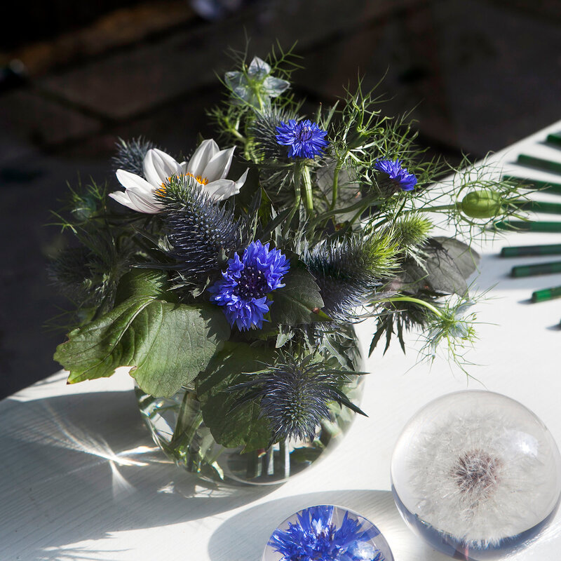 Beautiful bouquet of wild flowers with blue burr, cornflower and daisy
