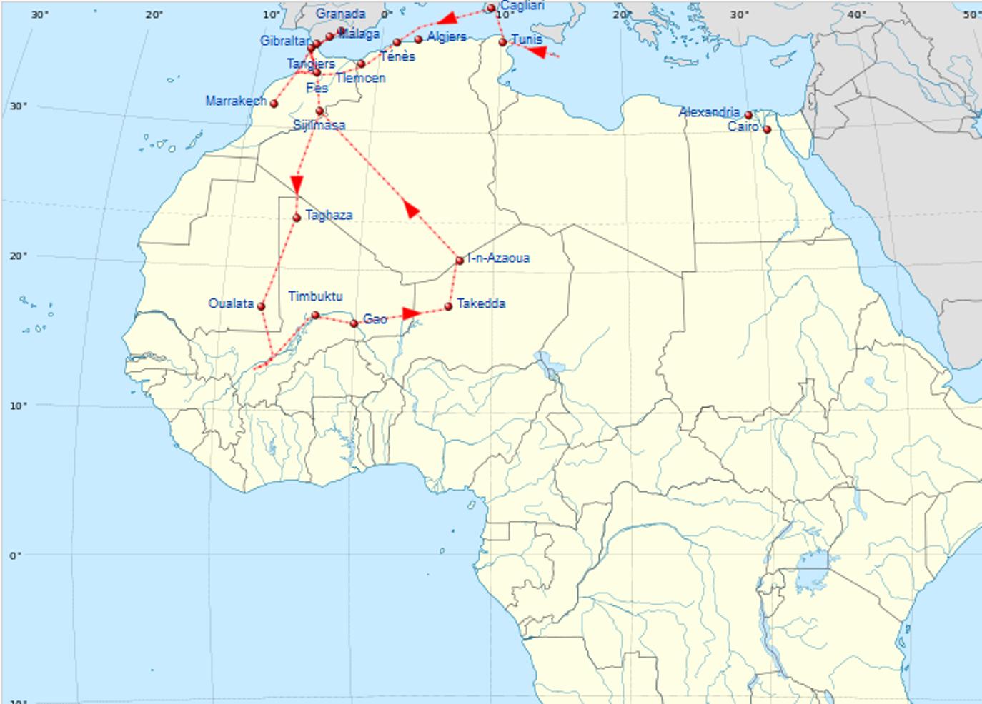 Ибн Батута.Маршрут в период с 1349 по 1354..png