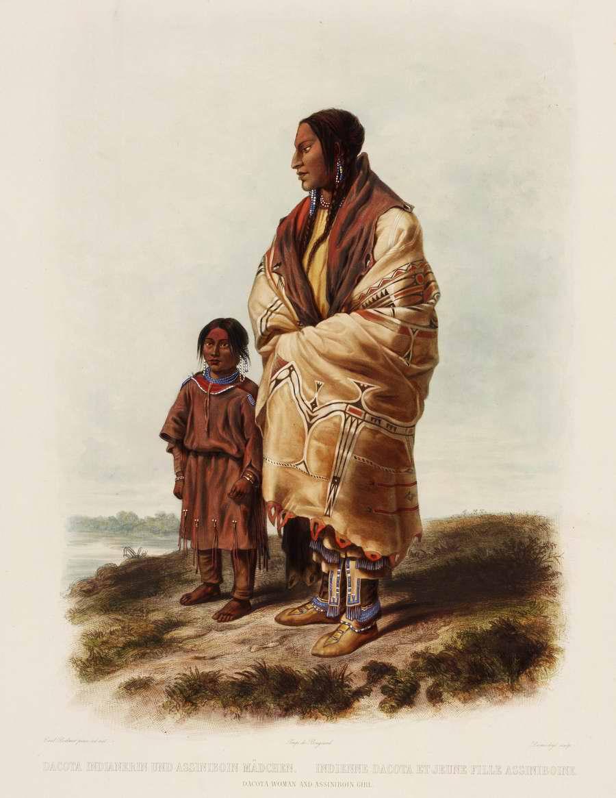 Индеанка из племени дакота и индейская девочка из племени ассинибойнов - Karl Bodmer
