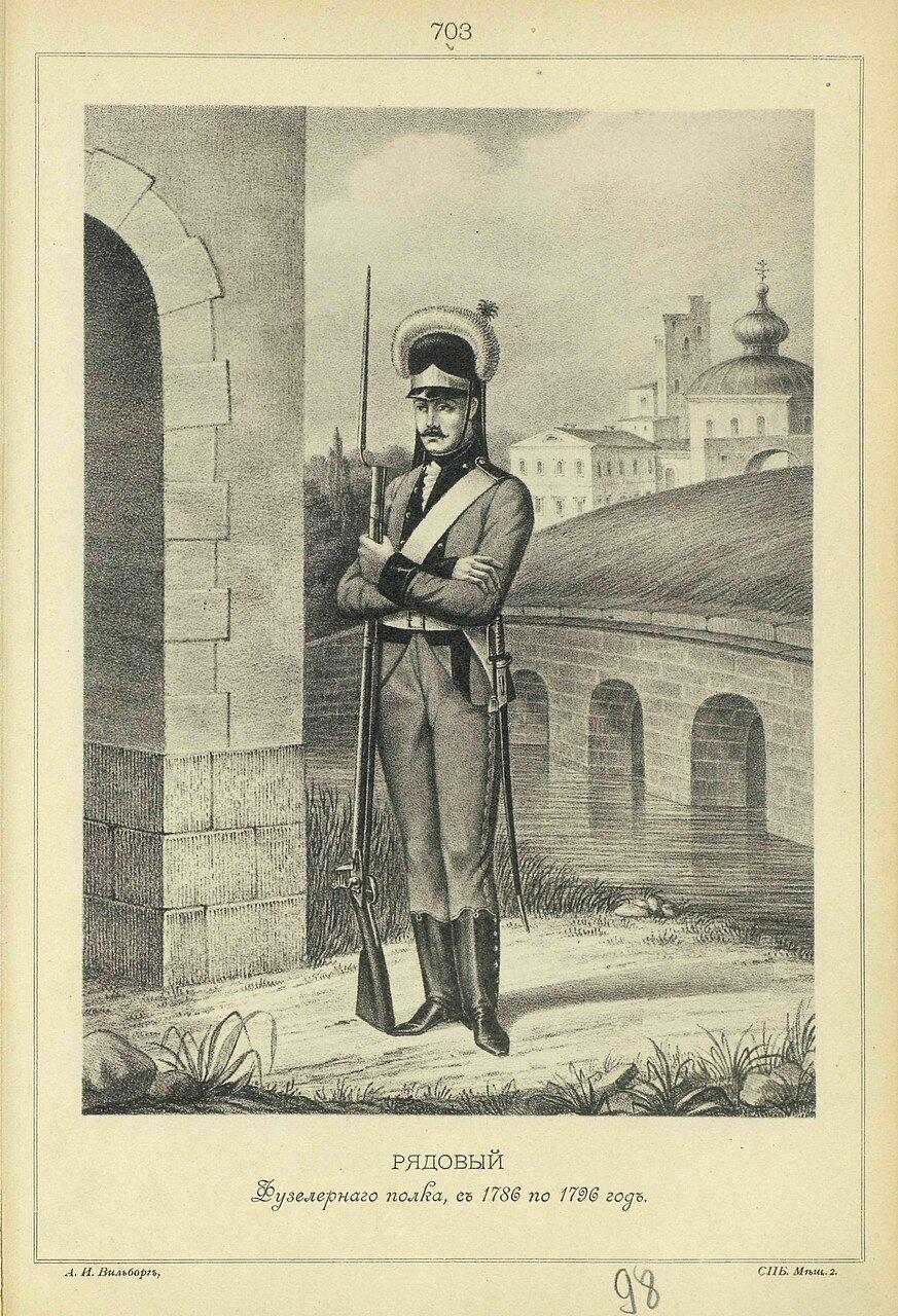 703. РЯДОВОЙ Фузелерного полка, с 1786 по 1796 год.