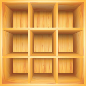 Wooden bookshelf, vector background