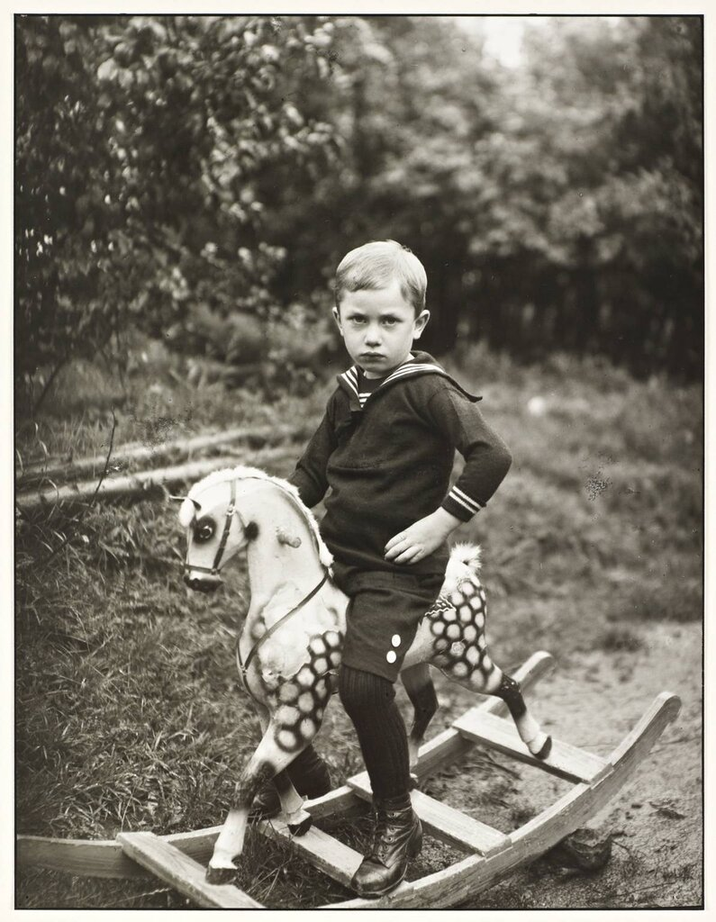 Young Boy on a Toy Horse c. 1922-5, printed 1990 by August Sander 1876-1964