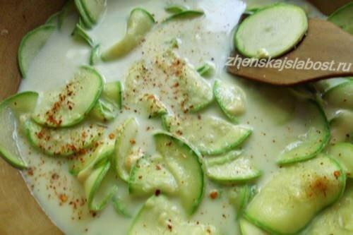кабачки в сливках с тертым сыром, для гратена