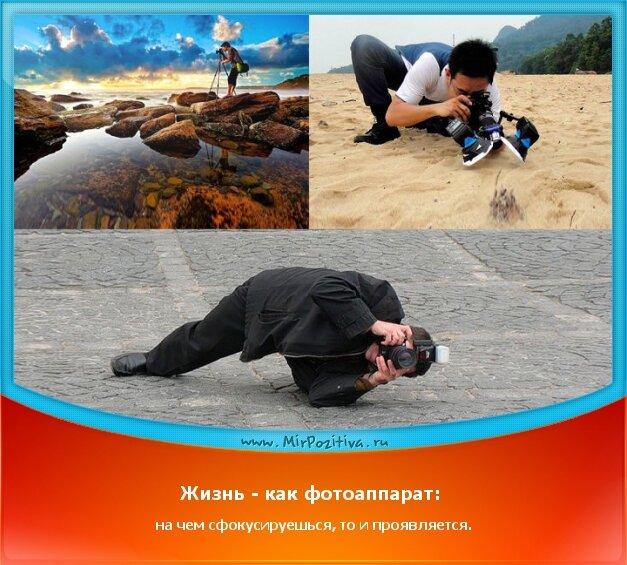 позитивчик дня: Жизнь - как фотоаппарат: на чем сфокусируешься, то и проявляется.