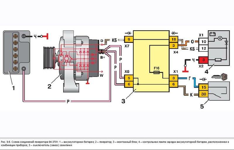 Схема на 4-х контактном реле.