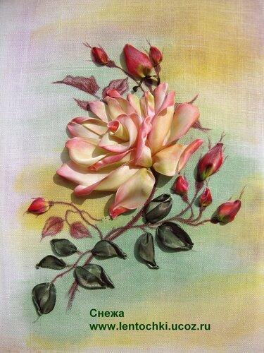 Вышивка лентами роза смотреть