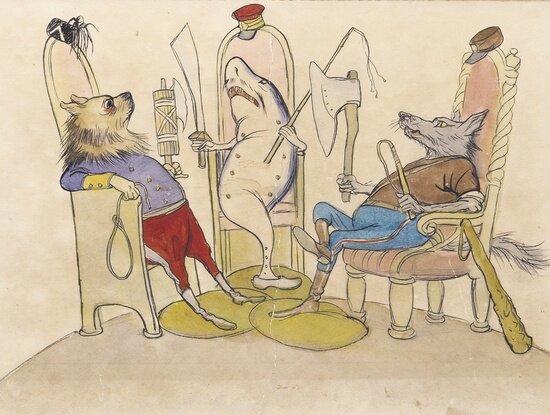 Кукрыниксы. Акула, гиена и волк. Иллюстрация к одноименной сказке С.Я. Маршака. 1938 г