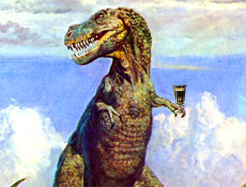 Динозавр с рюмкой