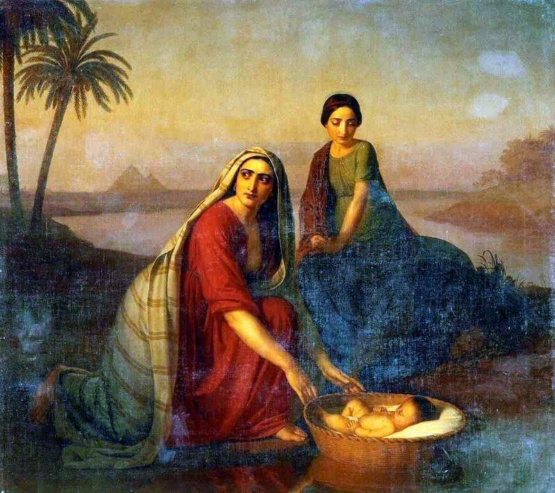 Моисей, опускаемый матерью на воды Нила, Алексей Тыранов, картины