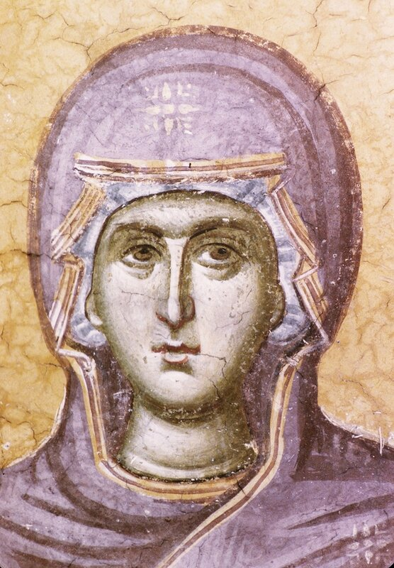 Пресвятая Богородица. Фрагмент фрески монастыря Грачаница, Косово, Сербия. Около 1321 года.